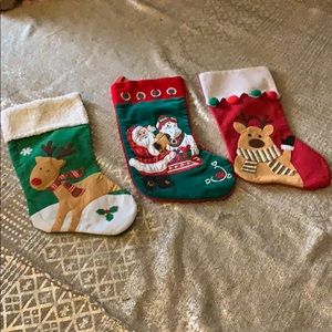 ESTATE ITEM Three Christmas Stockings  16 x 7